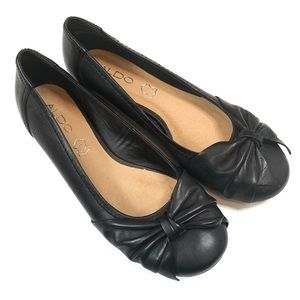 Aldo Black Leather Flats with Bow Size 7/Euro 37